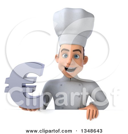 Clipart of a 3d Young White Male Chef Holding a Euro Symbol over a Sign - Royalty Free Illustration by Julos