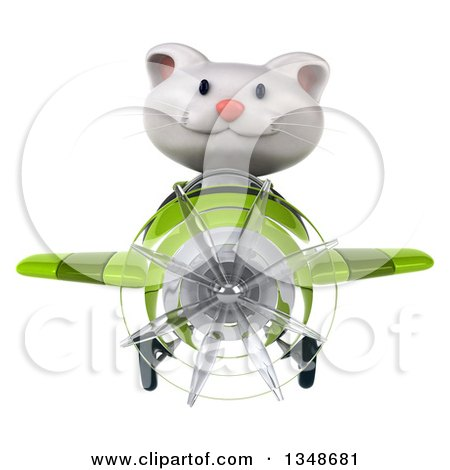 Clipart of a 3d White Kitten Aviator Pilot Flying a Green Airplane - Royalty Free Illustration by Julos
