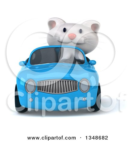 Clipart of a 3d White Kitten Driving a Blue Convertible Car - Royalty Free Illustration by Julos