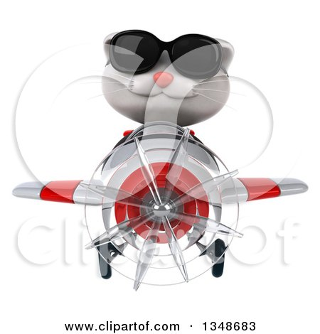 Clipart of a 3d White Kitten Aviator Pilot Wearing Sunglasses and Flying a White and Red Airplane - Royalty Free Illustration by Julos