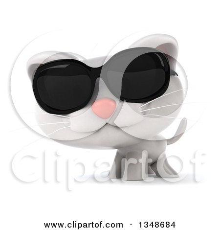 Clipart of a 3d White Kitten Wearing Sunglasses - Royalty Free Illustration by Julos