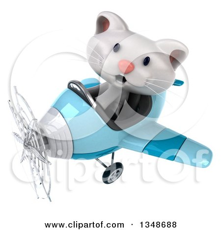 Clipart of a 3d White Kitten Aviator Pilot Flying a Blue Airplane to the Left - Royalty Free Illustration by Julos