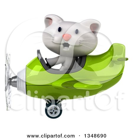 Clipart of a 3d White Kitten Aviator Pilot Flying a Green Airplane to the Left - Royalty Free Illustration by Julos