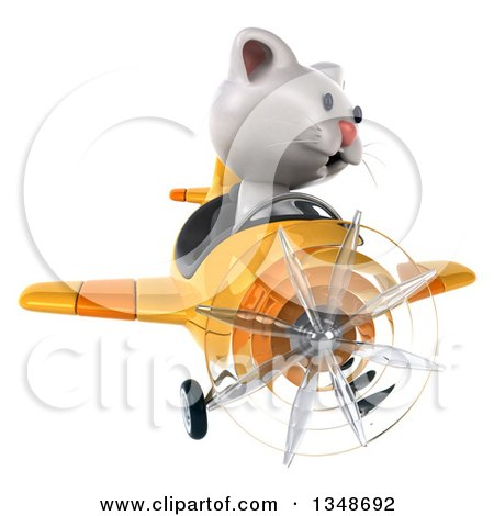 Clipart of a 3d White Kitten Aviator Pilot Flying a Yellow Airplane - Royalty Free Illustration by Julos
