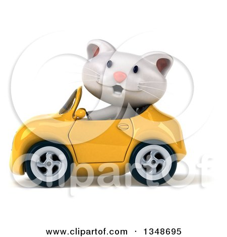 Clipart of a 3d White Kitten Driving a Yellow Convertible Car to the Left - Royalty Free Illustration by Julos