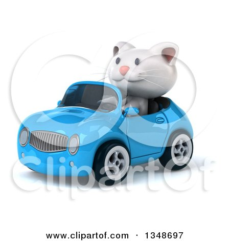 Clipart of a 3d White Kitten Driving a Blue Convertible Car to the Left - Royalty Free Illustration by Julos
