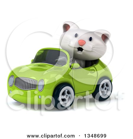 Clipart of a 3d White Kitten Driving a Green Convertible Car to the Left - Royalty Free Illustration by Julos