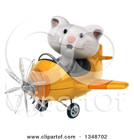 Clipart of a 3d White Kitten Aviator Pilot Flying a Yellow Airplane to the Left - Royalty Free Illustration by Julos