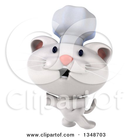 Clipart of a 3d White Chef Kitten Jumping - Royalty Free Illustration by Julos