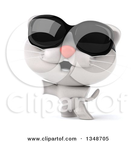 Clipart of a 3d White Kitten Wearing Sunglasses and Standing on His Hind Legs - Royalty Free Illustration by Julos