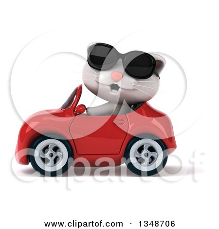 Clipart of a 3d White Kitten Wearing Sunglasses and Driving a Red Convertible Car to the Left - Royalty Free Illustration by Julos