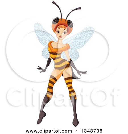 Clipart of a Sexy Fairy Posing in a Bee Costume - Royalty Free Vector Illustration by Pushkin