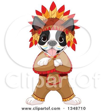 Cartoon Cute Native American Indian Boston Terrier Dog Posters, Art Prints