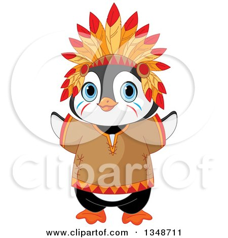 Clipart of a Cartoon Cute Native American Indian Penguin - Royalty Free Vector Illustration by Pushkin
