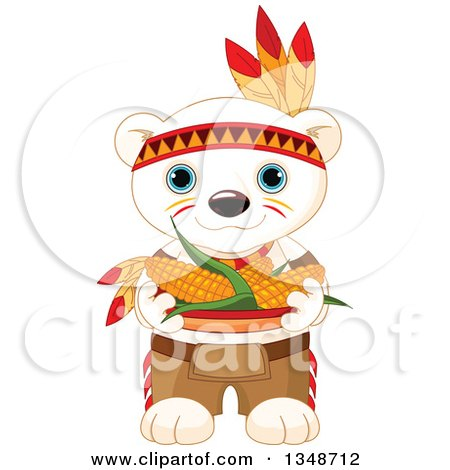 Clipart of a Cartoon Cute Native American Indian Polar Bear Cub Carrying Corn - Royalty Free Vector Illustration by Pushkin