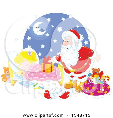 Clipart of a Caucasian Girl Sleeping While Santa Sets a Gift on Her Bed - Royalty Free Vector Illustration by Alex Bannykh