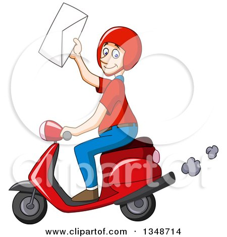 Clipart of a Cartoon Caucasian Delivery Man Holding up an Envelope and Driving a Scooter - Royalty Free Vector Illustration by yayayoyo