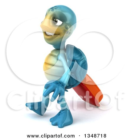 Clipart of a 3d Happy Blue Tortoise Turtle Traveler Walking to the Left with Rolling Luggage - Royalty Free Illustration by Julos