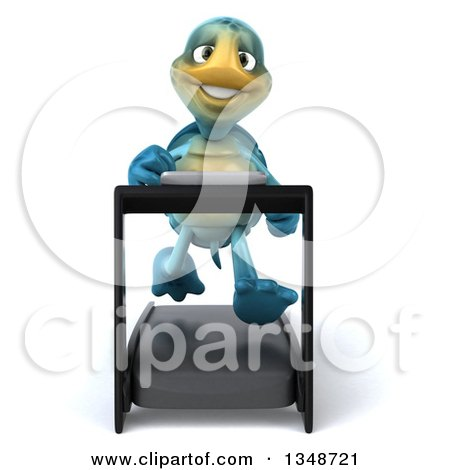 Clipart of a 3d Happy Blue Tortoise Turtle Running on a a Treadmill - Royalty Free Illustration by Julos