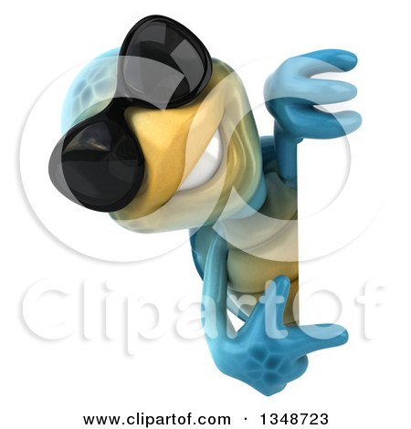 Clipart of a 3d Happy Blue Tortoise Turtle Wearing Sunglasses and Pointing Around a Sign - Royalty Free Illustration by Julos