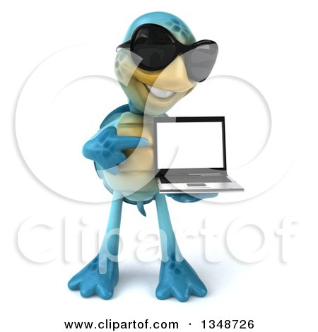 Clipart of a 3d Happy Blue Tortoise Turtle Wearing Sunglasses, Holding and Pointing to a Laptop Computer - Royalty Free Illustration by Julos