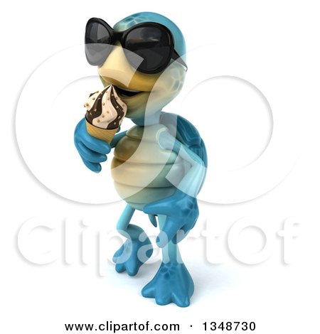 Clipart of a 3d Happy Blue Tortoise Turtle Wearing Sunglasses, Walking and Eating a Waffle Ice Cream Cone - Royalty Free Illustration by Julos