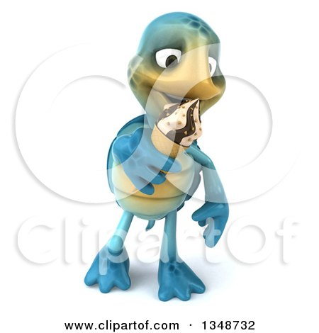 Clipart of a 3d Happy Blue Tortoise Turtle Walking and Eating a Waffle Ice Cream Cone - Royalty Free Illustration by Julos