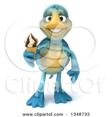 Clipart of a 3d Happy Blue Tortoise Turtle Holding a Waffle Ice Cream Cone - Royalty Free Illustration by Julos