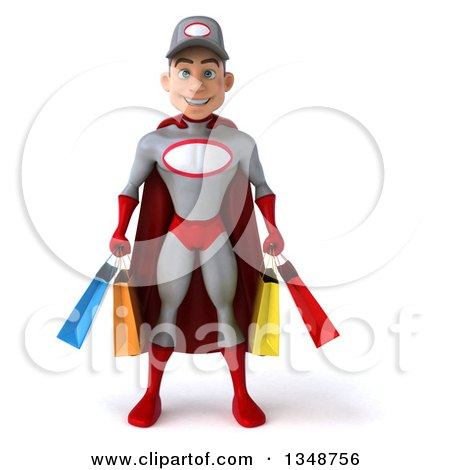 Clipart of a 3d Young White Male Super Hero Mechanic in Gray and Red, Carrying Shopping Bags - Royalty Free Illustration by Julos