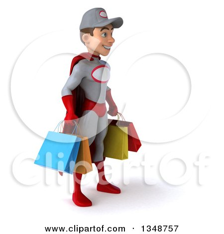 Clipart of a 3d Young White Male Super Hero Mechanic in Gray and Red, Facing Right and Carrying Shopping Bags - Royalty Free Illustration by Julos
