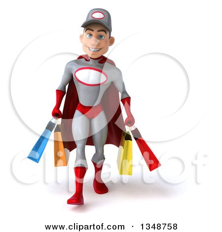 Clipart of a 3d Young White Male Super Hero Mechanic in Gray and Red, Walking and Carrying Shopping Bags - Royalty Free Illustration by Julos
