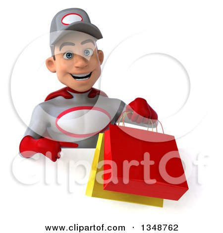 Clipart of a 3d Young White Male Super Hero Mechanic in Gray and Red, Holding and Pointing to Shopping Bags over a Sign - Royalty Free Illustration by Julos