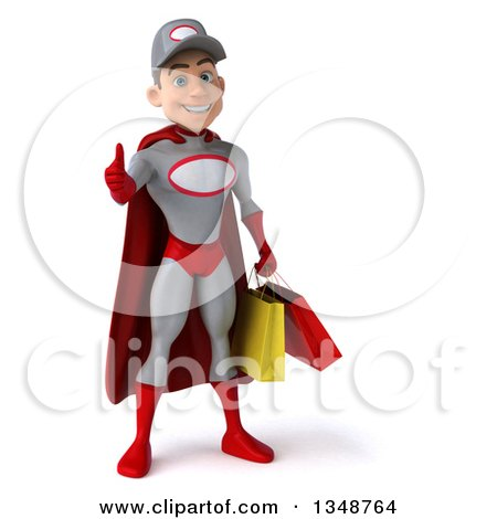 Clipart of a 3d Young White Male Super Hero Mechanic in Gray and Red, Giving a Thumb up and Holding Shopping Bags - Royalty Free Illustration by Julos