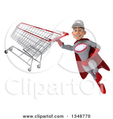 Clipart of a 3d Young White Male Super Hero Mechanic in Gray and Red, Flying with a Shopping Cart - Royalty Free Illustration by Julos