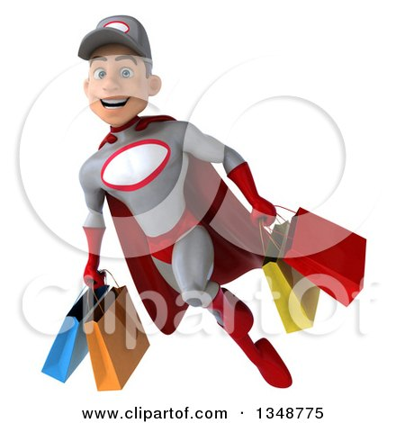 Clipart of a 3d Young White Male Super Hero Mechanic in Gray and Red, Flying with Shopping Bags - Royalty Free Illustration by Julos