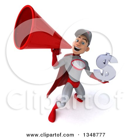 Clipart of a 3d Young White Male Super Hero Mechanic in Gray and Red, Holding a Dollar Currency Symbol and Using a Megaphone - Royalty Free Illustration by Julos