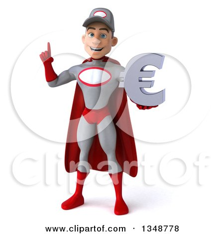 Clipart of a 3d Young White Male Super Hero Mechanic in Gray and Red, Holding up a Finger and a Euro Currency Symbol - Royalty Free Illustration by Julos