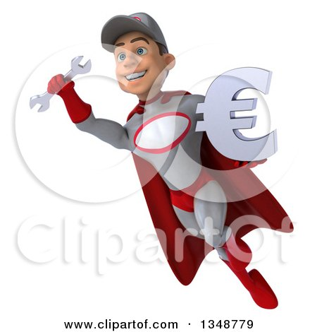Clipart of a 3d Young White Male Super Hero Mechanic in Gray and Red, Holding a Euro Currency Symbol and Flying - Royalty Free Illustration by Julos