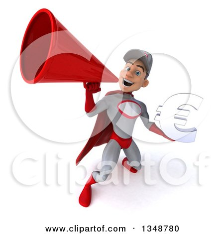 Clipart of a 3d Young White Male Super Hero Mechanic in Gray and Red, Holding a Euro Currency Symbol and Using a Megaphone - Royalty Free Illustration by Julos