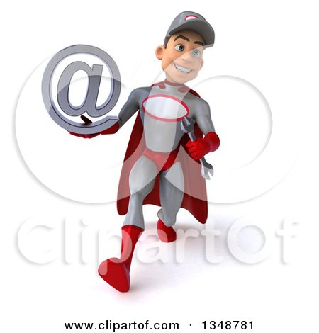 Clipart of a 3d Young White Male Super Hero Mechanic in Gray and Red, Holding an Email Arobase at Symbol and Speed Walking - Royalty Free Illustration by Julos