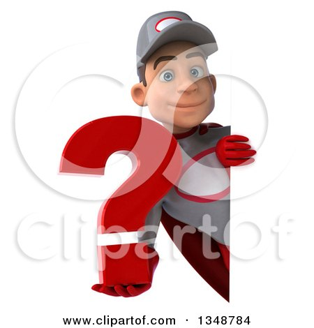 Clipart of a 3d Young White Male Super Hero Mechanic in Gray and Red, Holding a Question Mark Around a Sign - Royalty Free Illustration by Julos