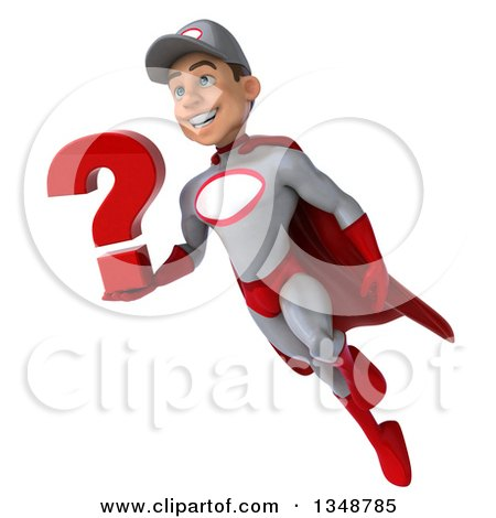Clipart of a 3d Young White Male Super Hero Mechanic in Gray and Red, Holding a Question Mark and Flying - Royalty Free Illustration by Julos