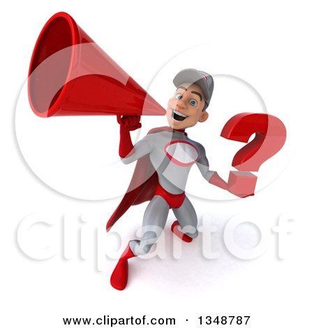 Clipart of a 3d Young White Male Super Hero Mechanic in Gray and Red, Holding a Question Mark and Using a Megaphone - Royalty Free Illustration by Julos