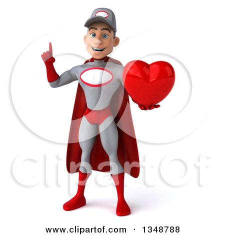 Clipart of a 3d Young White Male Super Hero Mechanic in Gray and Red, Holding up a Finger and a Love Heart - Royalty Free Illustration by Julos