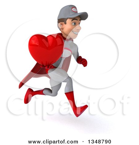 Clipart of a 3d Young White Male Super Hero Mechanic in Gray and Red, Holding a Love Heart and Sprinting to the Right - Royalty Free Illustration by Julos