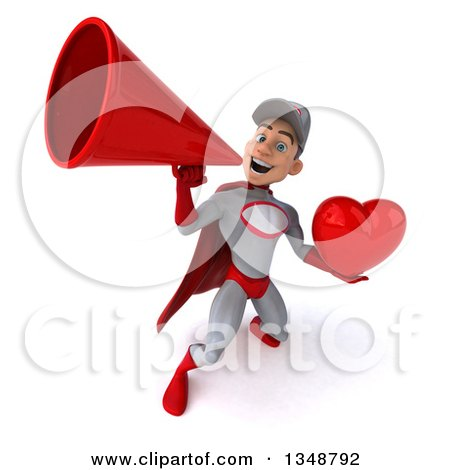 Clipart of a 3d Young White Male Super Hero Mechanic in Gray and Red, Holding a Love Heart and Using a Megaphone - Royalty Free Illustration by Julos