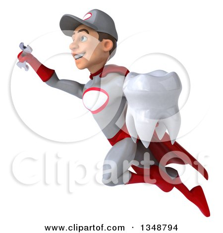 Clipart of a 3d Young White Male Super Hero Mechanic in Gray and Red, Holding a Tooth and Flying - Royalty Free Illustration by Julos