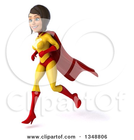 Clipart of a 3d Brunette White Female Super Hero in a Yellow and Red Suit, Running to the Left - Royalty Free Illustration by Julos