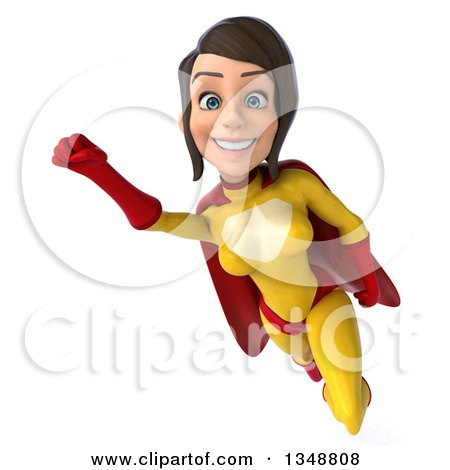 Clipart of a 3d Brunette White Female Super Hero in a Yellow and Red Suit, Flying - Royalty Free Illustration by Julos