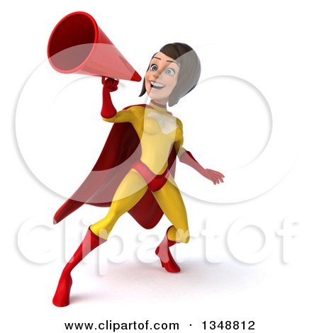 Clipart of a 3d Brunette White Female Super Hero in a Yellow and Red Suit, Using a Megaphone - Royalty Free Illustration by Julos